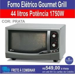Forno Elétrico Gourmet Grill Fischer prateado - 44 Litros