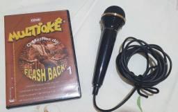 Microfone Dinâmico Aiwa DM H 200Acompanha DVDs de videokê