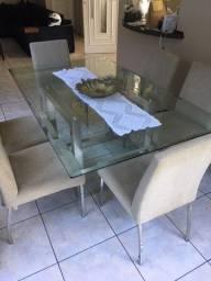 Mesa de jantar 6 cadeiras em vidro bisotado e estrutura em aço inox
