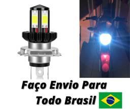 Lampada De Led H4 Super Branca 6000 K Farol Para Motos Titan