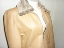 Casaco de couro legítimo tamanho P - Gola de pele