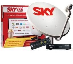 Antena SKY pré pago com receptor, controle remoto.