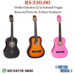 Violão Infantil Clássico (3/4) Vogga Rosa ou Preto ou  Yellow Sunburst