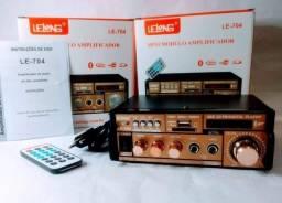 Amplificador potência bluetooth fm rádio carro casa 500w com controle remoto