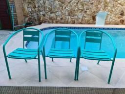 Kit de 3 Cadeira de alumínio verde água