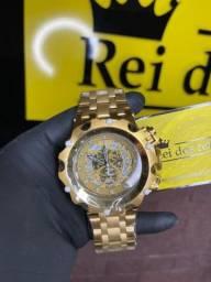 Relógio invicta hybrid banhado a ouro top