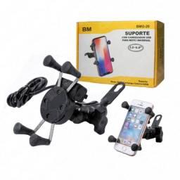 Suporte Motocicletas Carregador p/ Smartphone Formato X (BMG-20)
