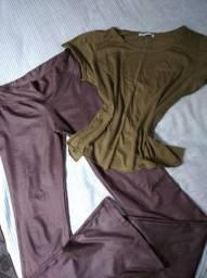 Calça Flare em Cirret e Blusinha Zara