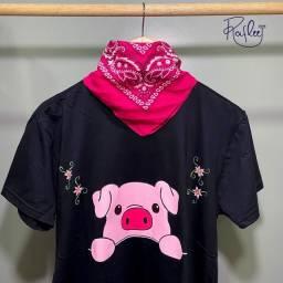 Título do anúncio: Camisa - Porquinho - pintada à mão