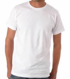 Camiseta branca, gola O, malha poliéster