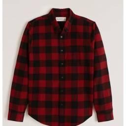 Abercrombie flannel button camisa social original vermelho