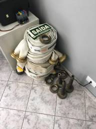 5 Mangueiras de hidrante 2,5 polegada + 4 adaptadores + 3 esguichos 2 1/2
