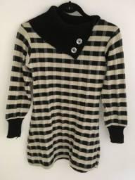 Vestido de lã malha xadrez
