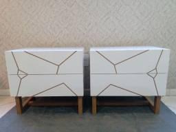 Criado laqueado branco (2 peças) novo