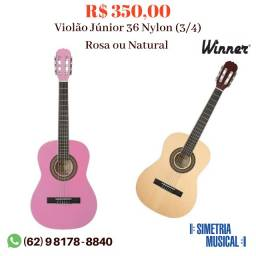 Violão Júnior - Infantil 36 Nylon (3/4) Rosa ou Natural (Novo) Com Nota Fiscal