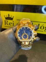 Relógio Zeus magnum azul com dourado novo