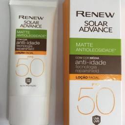 Protetor Solar Facial Renew Advance Matte com Cor MÉDIA Anti-Idade FPS 50 50g