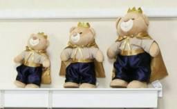 Trio ursinhos e móbile realeza azul marinho