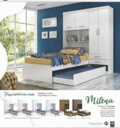Roupeiros Milena 4 porta com cama auxiliar