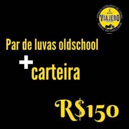 Kit Carteira + par de luvas 100% couro
