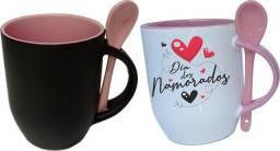 Título do anúncio: Canecas de porcelanas Magicas com colher personalizadas, presentes, namorados