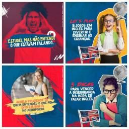 Título do anúncio: +100 Postagens de Escola de Inglês Editáveis para sua Escola