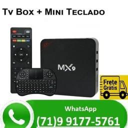 Título do anúncio: Smartv Tv Box 64gb E 4gb Ram Com Android 10 + Teclado Brinde (NOVO)