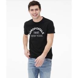 Aeropostale mens logo graphic camiseta preta original
