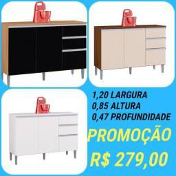 Super Promoção *Balcão p/ Cozinha 3 portas 2 gavetas