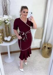 Vestido Moda Evangélico, Midi, Vinho