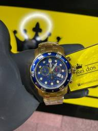 Relógio pro diver azul banhado a ouro