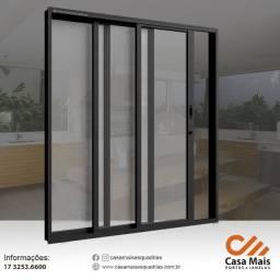 Título do anúncio: Porta de correr Aluminio Preto com vidro