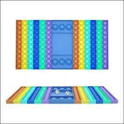 Jogo Pop It Tabuleiro Dados Inclusos - Popit Anti Stress 40x50cm Azul Novo