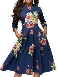 Vestido feminio Simple Favor azul floral midi manga 3/4 novo