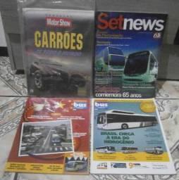 Lote Com 04 Revistas de Carros e Ônibus