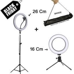 Kit 2 Ring Light luz Continua led - 26cm + 16cm + 2 tripés, Consultar Entrega Grátis p/ BH