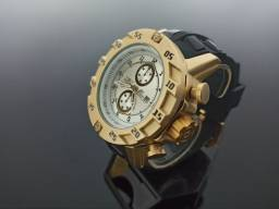 Relógio masculino invicta S1 dourado pulseira preta