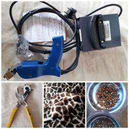 Frizador de chinelo + kit personalização calçados, roupas, bijuterias, etc