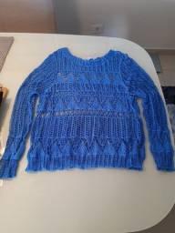 Blusa renda azul seminova