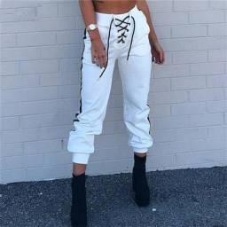 Título do anúncio: Calça feminina com cordões de cetim de cintura alta
