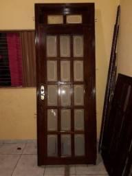 Porta de Madeira maçaranduba com vidro jateado