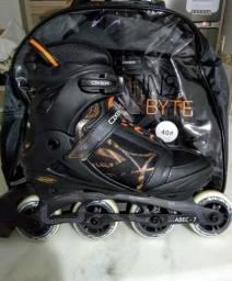 Patins Oxer Byte - In Line Fitness - Abec 7 - Preto/laranja