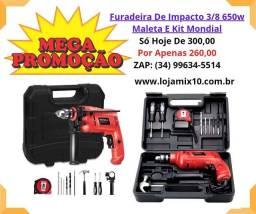 Kit Furadeira De Impacto 3/8 650w Maleta E Kit Mondial<br><br>