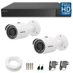 KIt com dvr 4 canais com 2 cameras hd com instalação