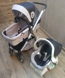 Carrinho de Bebê Dzieco Maly (cinza e preto) + Bebê Conforto com Base