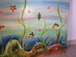 Tela/quadro decorativo 1,20m X 70cm - oceano, fundo do mar, 2008