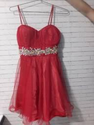 Título do anúncio: Vestido rosa cetim e tule TAM P 15 anos/casamento