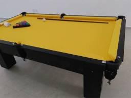 Mesa de Pedra Ardósia com Tecido Amarelo Cor Preta Mod YWBA8212