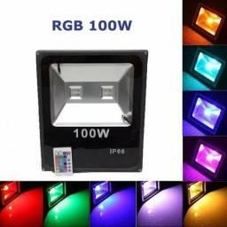 Promoção Refletor RGB Colorido 100w