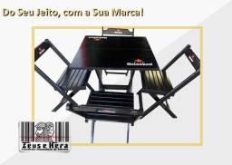 Do Seu Jeito, com Sua Marca - Mesa Bar Personalizado 70x70 c/ 4 Cadeiras em Madeira Maciça
